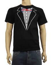 TUXEDO UNION JACK BOW T-SHIRT - Stag Party Do Fancy Dress Tux - S to 3XL