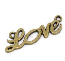 """5 Antique Bronze """"love"""" CHARME CONNECTEUR pendentifs pour bijoux & fabrication carte"""