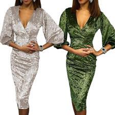 3e7b6c70a925 Vestito da sera donna sexy abito elegante in velluto manica 3 4 aderente  D611048