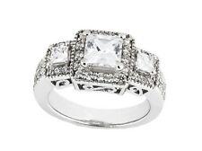 1.75Ct Princesa Diamante Talla Redonda Triple Halo Anillo de Compromiso 14k Oro