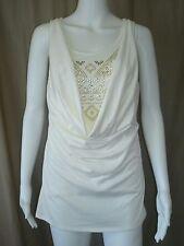 Jr.Ivory Fashion Knit Top-Faux Rhinestone/Bead Decorated Inset-NoBo-SzM,L,XL,2XL