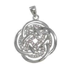Quatrefoil Celta Nudo Sólido Colgante de plata Ley / necklace-cz- CADENA