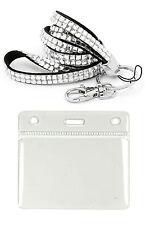 Bling Rhinestone Lanyard & ID Badge Pouch Pocket Set, Diamonte Style Lanyard