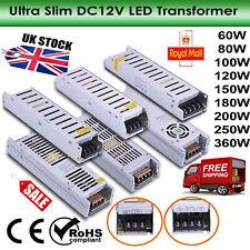 AC230V- DC12V Slim LED Driver Power Supply Transformer For LED Strip 60W-360W UK