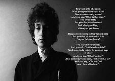 7 Bob Dylan Lyrics Picture American Pop Legend Singer Print Vintage Music Poster