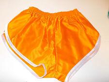 Nylon Glanz Satin SPRINTER Short Small to XXL 70s&80s Retro, Orange & White Trim