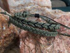 Military Green hippie surfer hemp men women Hemp Anklet Bracelet 2 set Black &