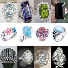 Charm 925 Silver Sapphire Emerald White Zircon Ring Wedding Bridal Rings Jewelry