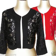 Bolero Pizzo donna nero rosso coprispalle stola Taglia 50 52 54 56 giacca D0548