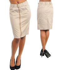 WOMENS SKIRT PENCIL belted wide waist zippered S M L summer weight career casual
