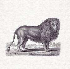 Lion Woodcut Design Fabric Cushion / Upholstery Craft Panel