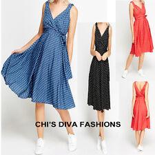 KUSHI Vintage Retro Polka Dot 50s Rockabilly Summer Dress Sizes 16, 18, 20