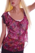 Womens Jrs Self Esteem Blouse Top Prairie Peasant Pink FLORAL Sheer Shirt Sm NEW
