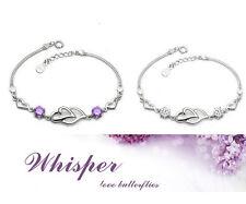 Sterling Silver Purple White Crystal Amethyst Double Heart Love Bracelet Gift B3