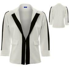 Femmes Manche Revers Un Bouton Panel Monochrome Contraste Veste Blazer