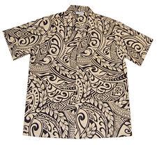 Hawaiian Men Aloha Khaki Black Tattoo Luau Party Cotton Blended Shirt-S-5X