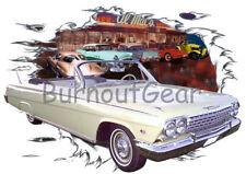 1962 Tan Chevy Impala Convertible Custom HotRod Diner T-Shirt 62 Muscle Car Tees