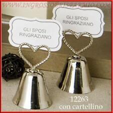 Segnaposto matrimonio campanella tira baci in metallo con cartoncino cm 6.5 h