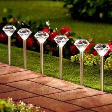4/8* Solar White LED Diamond Stake Lights Garden Border Lanterns Stainless Steel