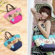 Womens Girls Handmade Beach Straw Shoulder Bag Tote Purse Shopping Handbag New