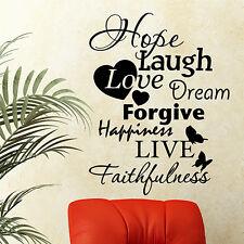 Citazione Muro speranza RIDI LOVE DREAM perdonare Muro ARTE Adesivo Decalcomania Muro Decor n64