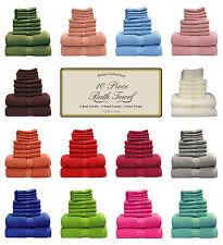 DELUXE 6 PIECE SATIN BATH TOWELS SET 100% COTTON - 2 BATH, 2 HAND, 2 FACE CLOTH