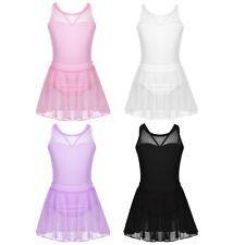 Mädchen Kleid Ballett Trikot mit Tüll Rock Baumwolle Ballettanzug Ballettkleid