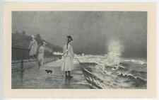 ANTIQUE OCEAN WALK VICTORIAN GIRL BRAIDS DOG HIGH TIDE WAVES MINIATURE PRINT