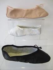 Unisex Leather Ballet Shoes White/Black/Salmon Pink  UK 5 infant-11 Adult