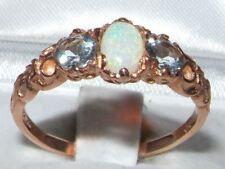 Donna Tinta Unita 9 KT ROSE ORO Naturale Opale & Acquamarina Anello di stile vittoriano