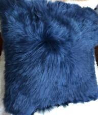 Blue Luxurious Fur Alpaca Pillow, Alpaca fur pillow cover, Square All sizes