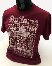 Grunge Biker Poster T-Shirt Mens S-2XL Distressed Burgundy Outlaw Racing Bike
