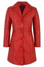 Ladies TRENCH COAT Jacket Red Classic Knee-Length Designer Lambskin Coat 3457