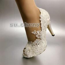 "3"" 4"" heels white ivory fine satin lace open toe Wedding shoes bride size 5-11"