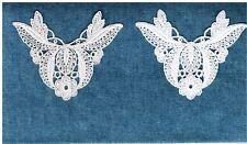 """Antique Venice Venise lace applique leaves Crafts 2pc Vintage Quilting 3""""  E41"""