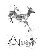 ART PRINT Doe Deer, Severus Snape, Harry Potter, sempre preventivo, B & W, Wall Art
