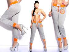 Pantaloni Fitness Donna Joggings Sport Pants Bordi Fluo Neon Moda Taglia Unica