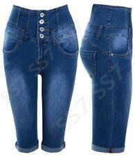 Damen High Waist Denim Pedal Pusher NEU Gr 8 10 12 14 16 blau