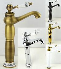 Strass Vintage en acier chromé & PORCELAINE salle de bain bassin évier MONO Bloc Mitigeur