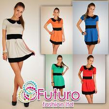 Moda Casual Mini Abito Con Colletto Due Colori Tunica Taglia 8-12 Hq 5417