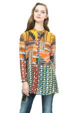 Desigual Long Silk Mix Marta Collarless Inca Print Blouse XS-XXL UK 8-18 RRP�94