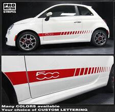Fiat 500 2007-2015 Rocker Panel Side Stripes Decals (Choose Color)