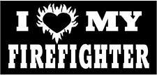 WHITE Vinyl Decal - I love my firefighter heart fire fighter fun sticker