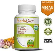 Organic Turmeric Garlic Ginger PURE Capsules Cardiovascular Support Antioxidant