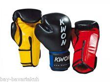 KWON® LEDER KO Champ Box-Handschuhe Boxhandschuhe 10 12 16 UZ schwarz rot gelb