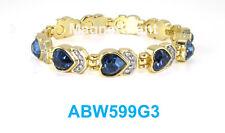 Dark Blue Heart Crystals Women gold plated link high power Magnetic bracelet