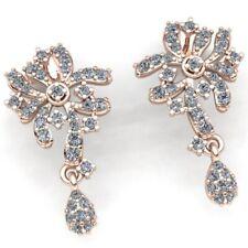 3ctw Genuine Round Cut Diamond Ladies Flower Chandelier Earrings 18K Gold