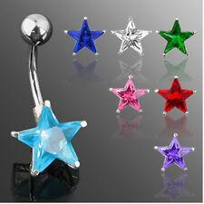 Acero Piercing Ombligo Joya con Estrella de cristal muchos colores