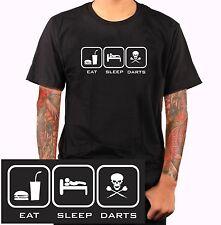 Darten Dart Dartpfeil EAT SLEEP DARTS T-Shirt Dartkopf scull Totenkopf emo S483