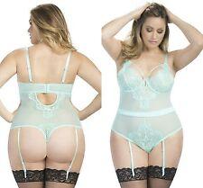 Ladies Aqua Eyelash Lace Teddy bodysuit lingerie leotard 8-10 12-14 16-18 20-22